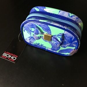 SOHO Beauty* Cosmetic Bag Mint+Blue Floral+Bow 1a